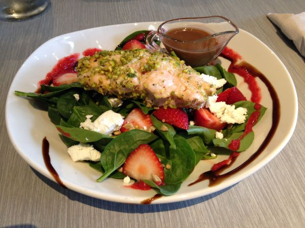 The Omega Salad (that's pistachio crusted salmon!)