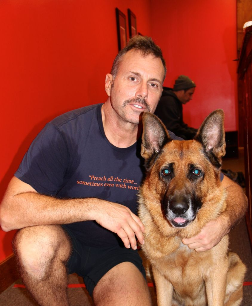 Richard and his German Shepard, Yogi